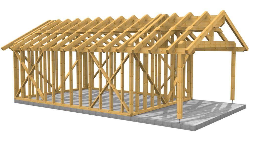 Halle als Holzriegelbau